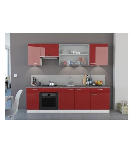 Cuisine laque rouge clarisse tidy home - Cuisine blanche laque ...