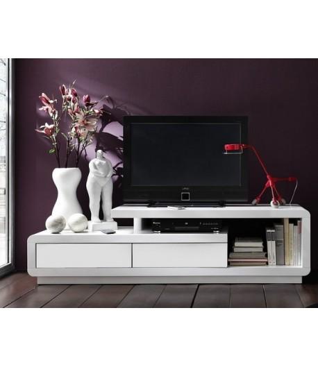 Meuble tv hifi large white coloris laque blanc fenrez for Meuble tv large