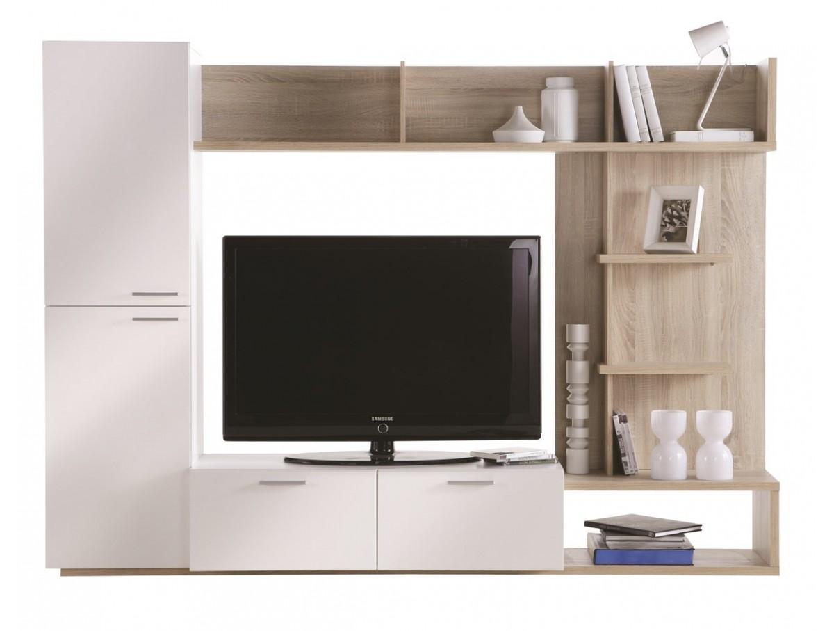 Living Tv chêne clair et Blanc  TIDY HOME -> Meuble Living Tv But