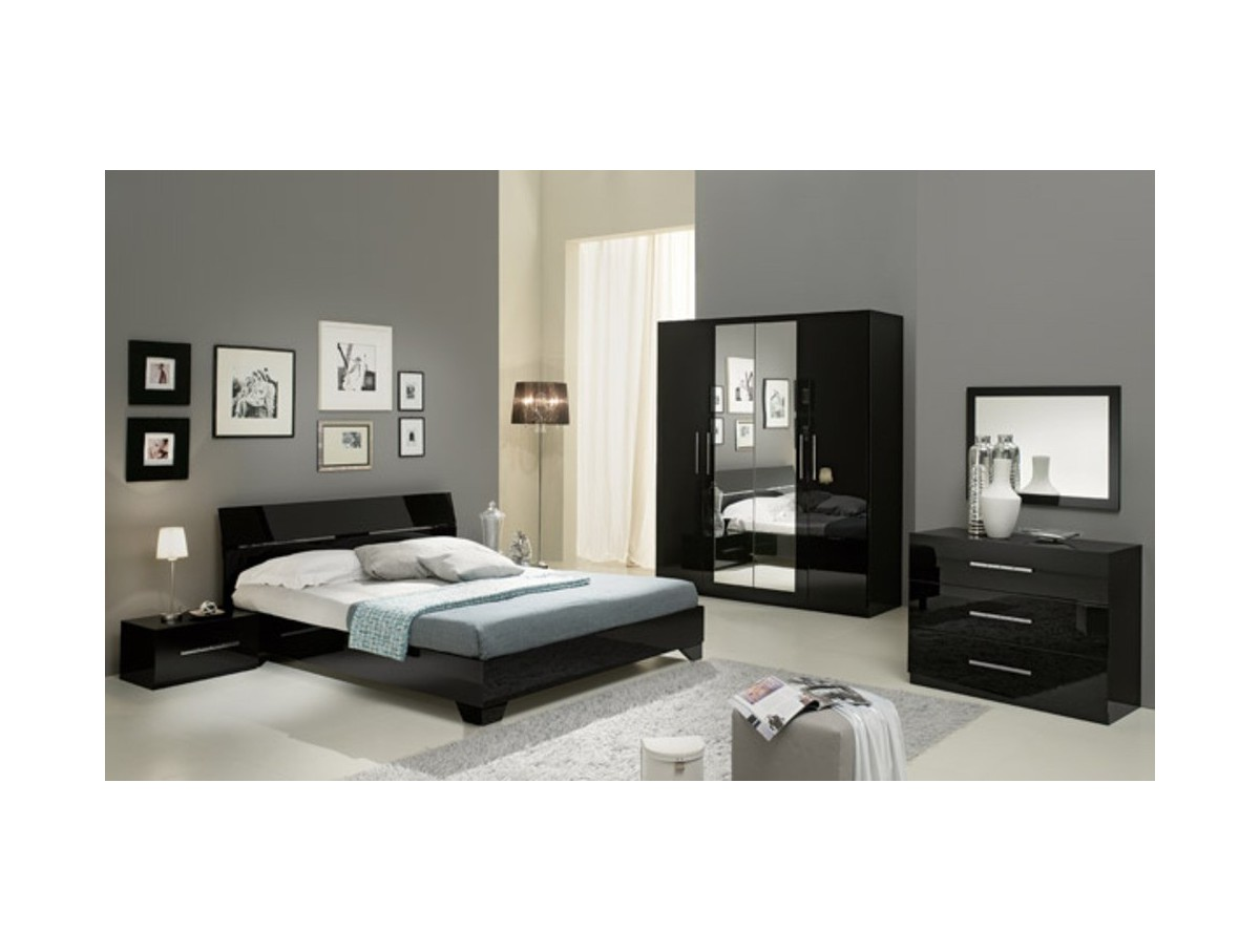 Chambre gladice laque tidy home - Chambre blanche et noire ...