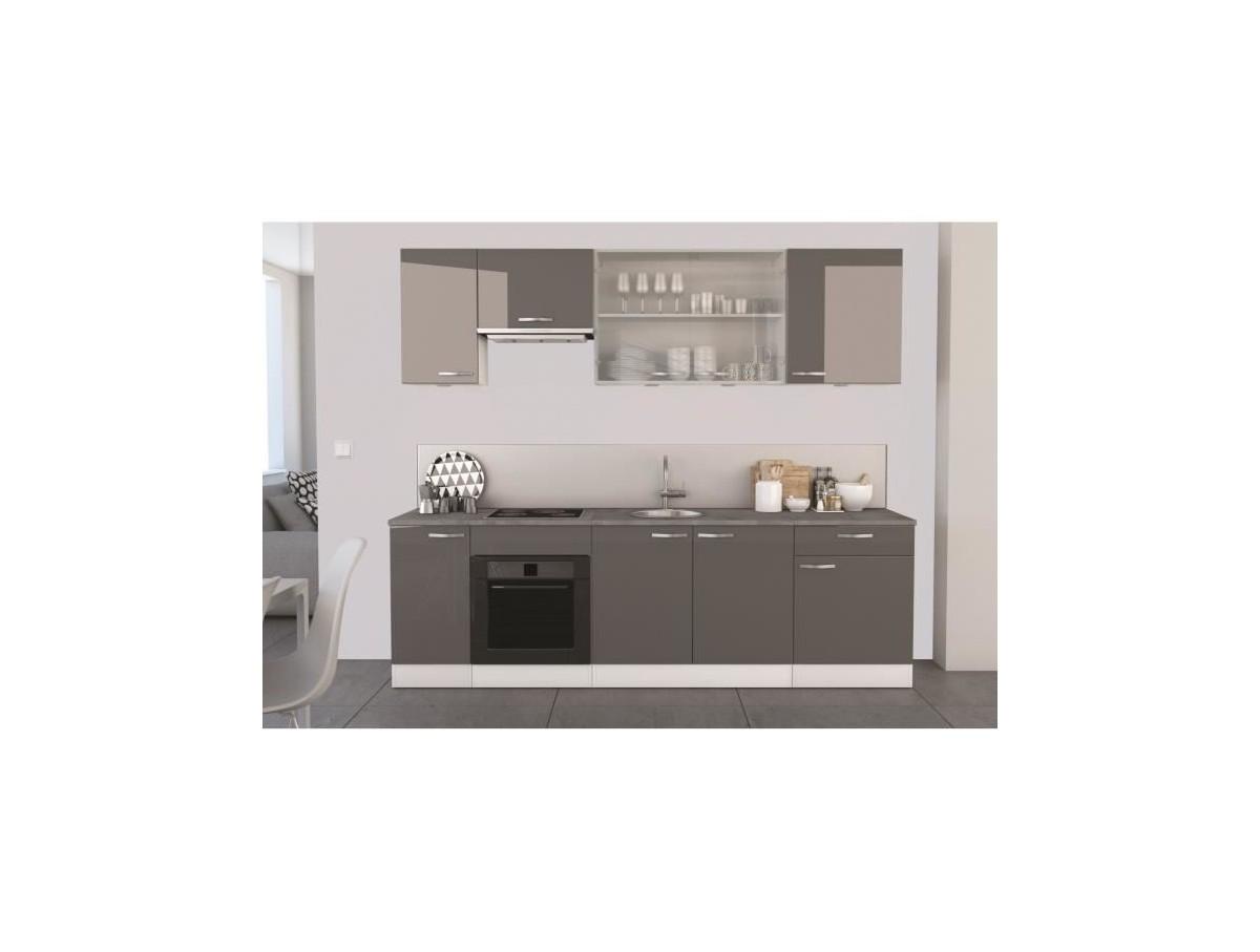 Cuisine space grise laqu tidy home - Cuisine blanche laque ...