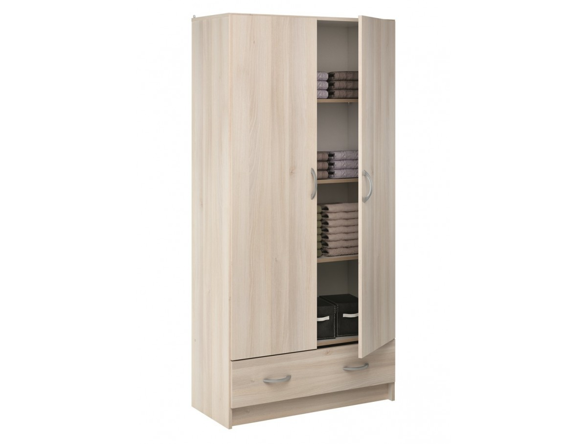 armoire 2 portes 1 tiroir accacia tidy home. Black Bedroom Furniture Sets. Home Design Ideas