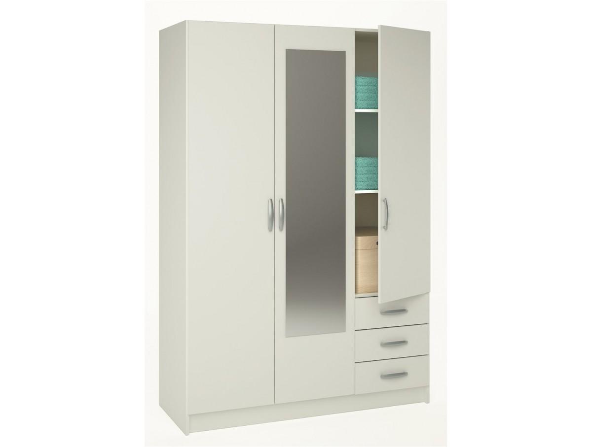 Armoire 3 portes 3 tiroirs lolita tidy home - Armoire 2 portes noire ...