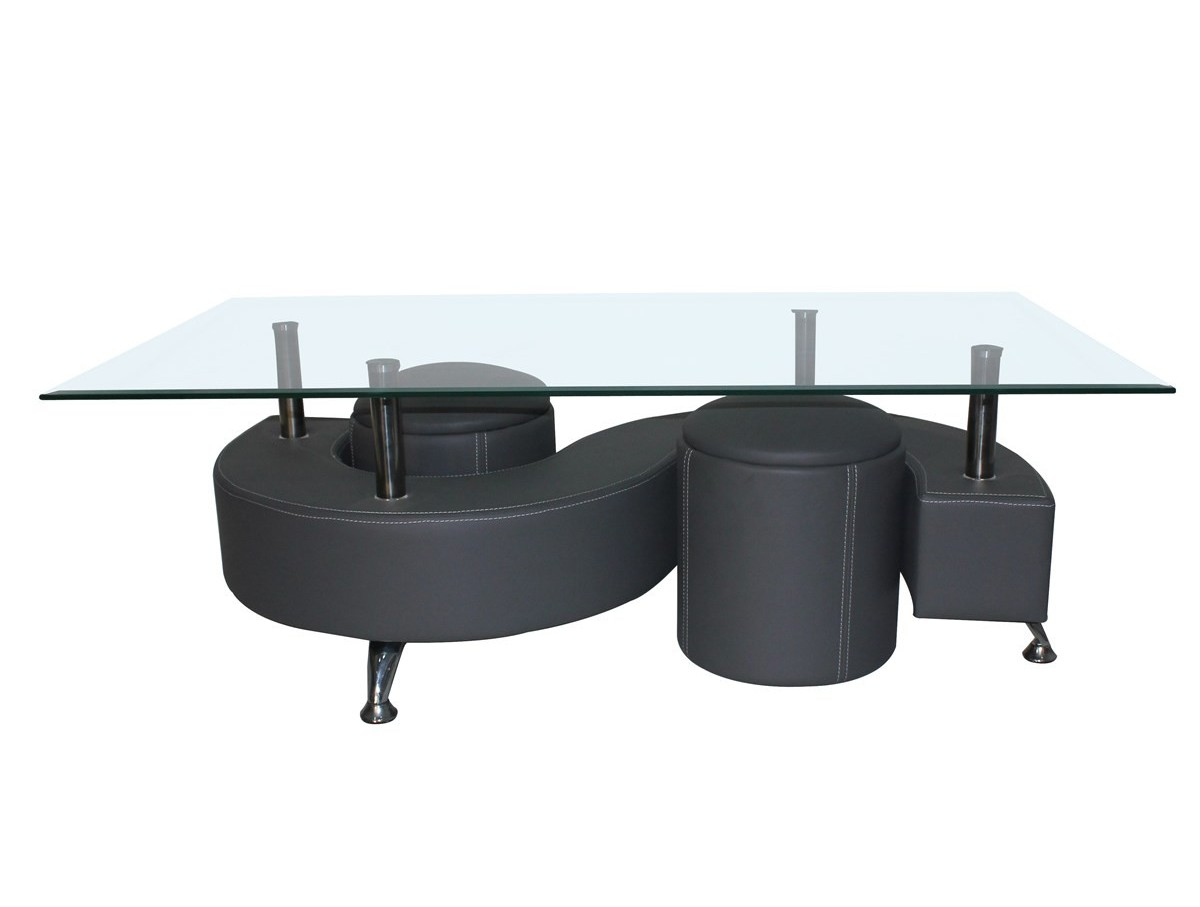 Table basse avec poufs dollar tidy home - Destockage table basse ...