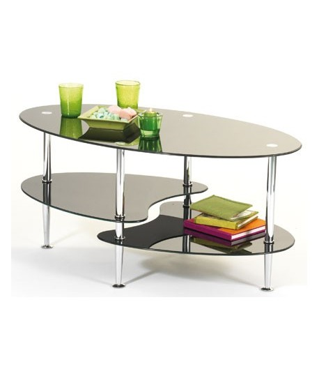 Table basse joker noire tidy home - Table basse en verre noir ...