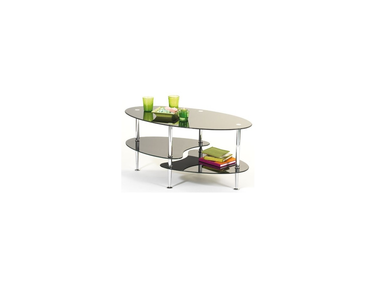 Table basse en verre noir ovale for Table basse en verre noir