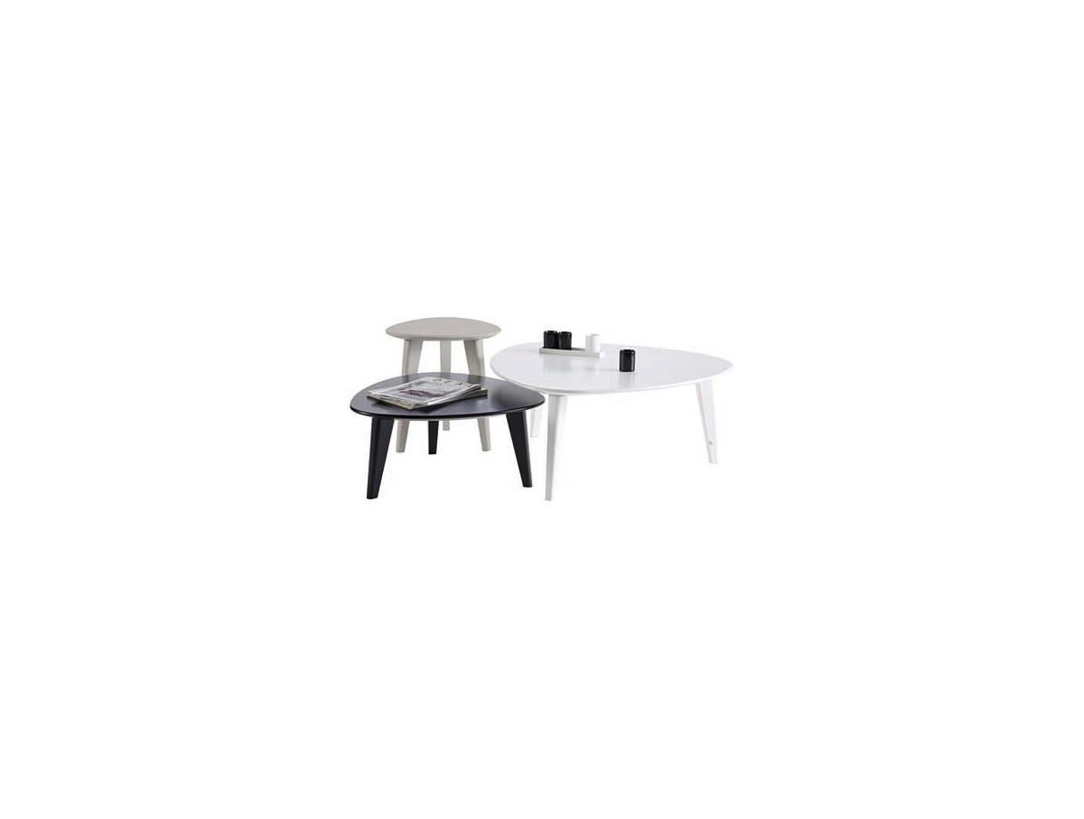 Tables basses stone set 3 tidy home for Meuble tv triangulaire
