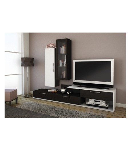 Living tv mios noir blanc tidy home for Meuble living tv