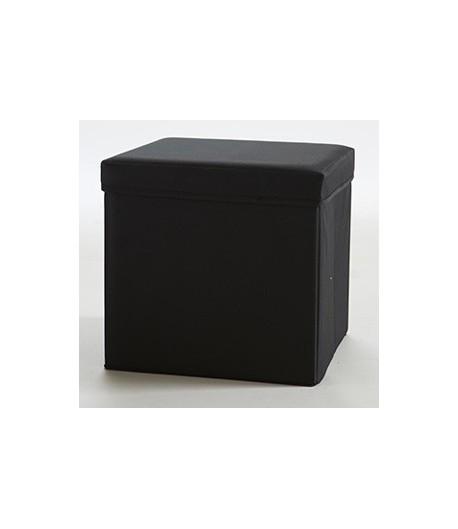 Pouf carr avec coffre de rangement noir tidy home - Pouf avec coffre rangement ...
