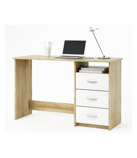 Bureau 1 niche 3 tiroirs haris tidy home for Bureau 3 tiroirs biface