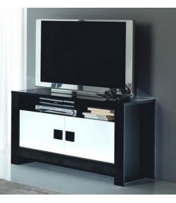 "Meuble TV blanc/noir ""LISA"""